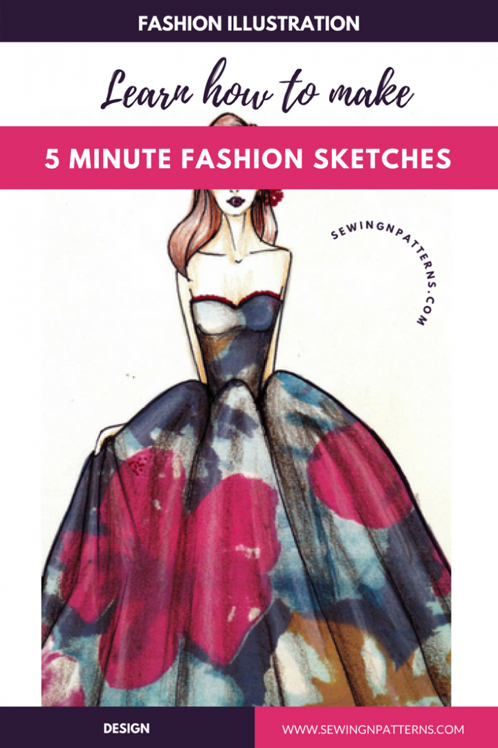 learn how to make #fashionillustrations in 5 minutes with these step by step tutorials on how to draw fashion design sketches for beginners. This is for you if you are a sewing beginner or fashion illustrator or learning fashion design or hobbyist or diy craft lover.