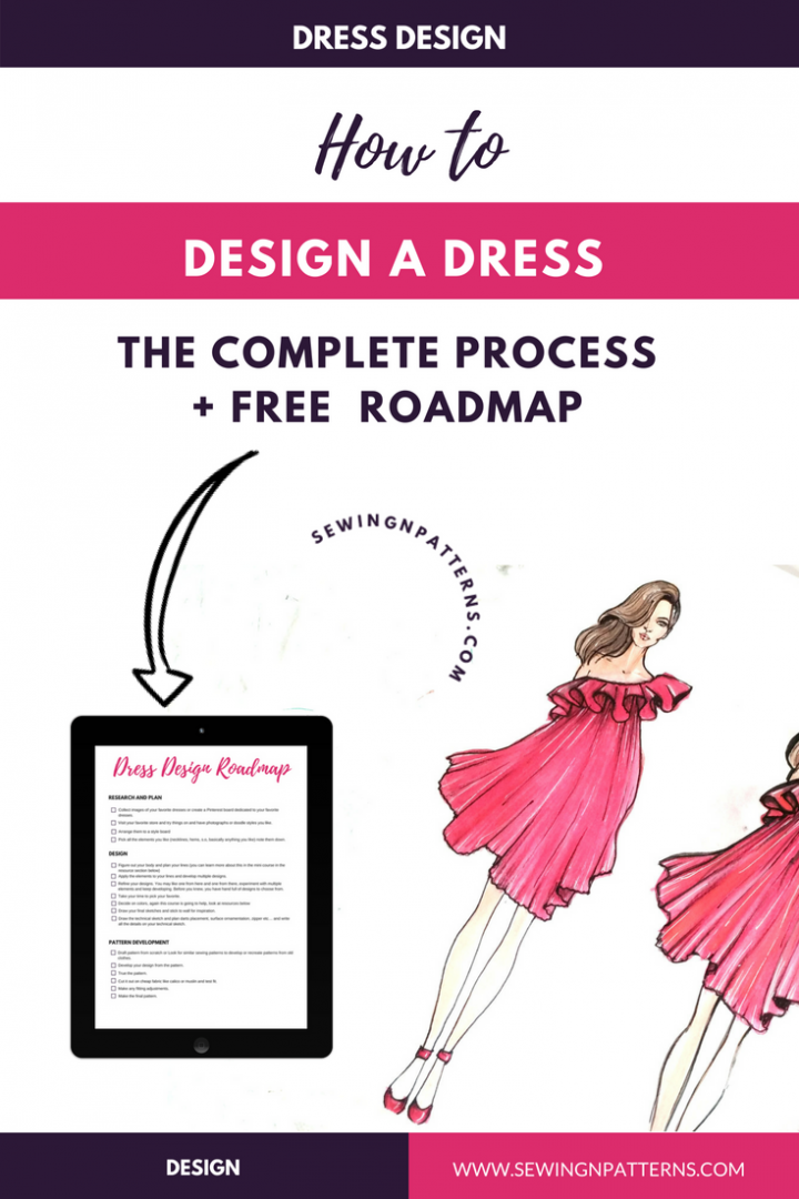 Learn the 4 steps of dress design and Grab your dress design roadmap for free that helps you to design your own clothes. (Sewing projects for beginners, diy sewing projects, useful sewing projects, quick sewing projects, free sewing projects, beginners sewing, Sewing clothes, sewing tutorials step by step, dress making For beginners, dress making patterns, dress making tutorial, dress making ideas, Diy Dress making, Dress making inspiration, step by step dress making)